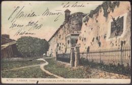 POS-1024 CUBA POSTCARD. 1908. FOSO DE LOS LAURELES DEL CASTILLO DE LA CABAÑA. - Cuba