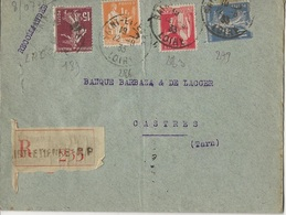 LOT DE 8 LETTRES RECOMMANDEES -AFFRANCHISSEMENTS COMPOSES SEMEUSE -TYPE PAIX- ANNEE 1923-39 - Marcophilie (Lettres)