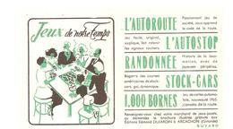 Buvard Edmond Dujardin Jeux De Notre Temps L'autoroute L'Autostop Randonnée Stock-Cars 1000 Bornes - Stationeries (flat Articles)