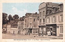 C P A Eure 27 St Georges Du Vièvre La Place Route De Bernay Les Commerces Carte Animée - Autres Communes