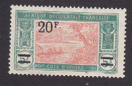 Ivory Coast, Scott #91, Mint Hinged, River Scene Surcharged, Issued 1924 - Côte-d'Ivoire (1892-1944)