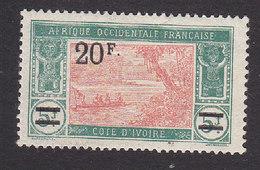 Ivory Coast, Scott #91, Mint Hinged, River Scene Surcharged, Issued 1924 - Ivory Coast (1892-1944)
