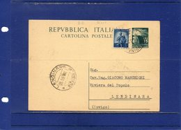 ##(ANT10)-1950-cart. Postale L.15 Filagrano C141 Usata Come Ricevuta Di Ritorno Atti Giudiziari Da Lendinara Per Città - 6. 1946-.. Repubblica