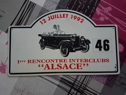 Plaque Rallye Alsace 1992 - Voitures (Courses)
