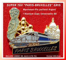 """SUPER MAX PIN'S TGV PARIS BRUXELLES : Version TGV """"GRIS""""  BALLARD ZAMAC 3D, Doré à L'Or Fin (c)TGV Format 4X3,5cm - TGV"""