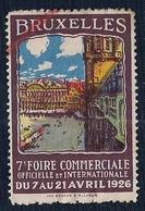 BELGIQUE - VIGNETTE - BRUXELLES - 7e FOIRE INTERNATIONALE 1926. - Neufs