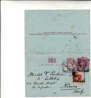 London To Novara, Italy. Letter Card  Intero Postale.1894 - 1840-1901 (Regina Victoria)