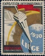 BELGIQUE - VIGNETTE - LIÈGE - EXPOSITION INTERNATIONALE 1930. - Unused Stamps