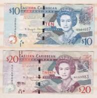 East Caribbean 2 Billets 10 Dollars Et 20 Dollars - Caraïbes Orientales