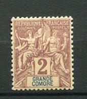 8407  GRANDE COMORE  N°2 **  2c. Lilas - Brun S. Paille   1897   TB - Nuovi