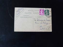 ENTIER POSTAL    20 C TYPE PASTEUR  AVEC SURCHARGE  POUR PARIS  -  1931  - - Entiers Postaux