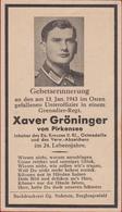 Sterbezettel Deutscher Soldat Xaver Groninger Unteroffizier Grenadier Ostfront 1943 Sterbebild Weltkrieg WK 2 World War - 1939-45