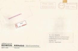 "Netherlands 1988 Leiden Meter Pitney Bowes-GB ""5349"" PB 9735 Slogan Flower Center Registered EMA Cover - Marcofilie - EMA (Print Machine)"