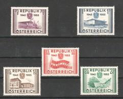 """Österreich 1955: """"Unabhängigkeit Österreichs"""" 1021/5 Postfrisch (s.Foto) - 1945-60 Neufs"""