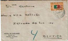 Portugal , 1961 , Pedras Salgadas Postmark , Hotel Do Avelames Envelope , Portuguese Flag Stamp - Poststempel (Marcophilie)
