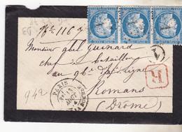 N° 60 Yvert -   Planchage -  Lettre Avec Bande De 3 Ttb  Case  76 77 78 D3 Se Tenant. TB état Complet.. - 1871-1875 Cérès