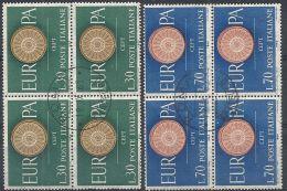 1960 ITALIA USATO EUROPA QUARTINA - 1960