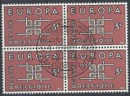 1963 BELGIO USATO EUROPA 3 F QUARTINA - Europa-CEPT