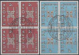 1963 BELGIO USATO EUROPA QUARTINA - Europa-CEPT