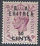 1950 OCCUPAZIONE BRITANNICA ERITREA BA 50 CENT MH * - RR12343 - Eritrea