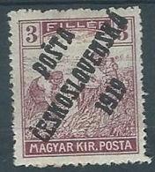 1919 CECOSLOVACCHIA SOPRASTAMPATO 3 F UNGHERIA MIETITORI MH * - CZ026 - Cecoslovacchia