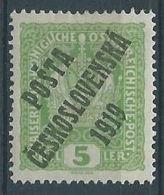 1919 CECOSLOVACCHIA SOPRASTAMPATO 5 H AUSTRIA N.144 MH * - CZ030 - Cecoslovacchia