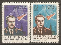 North Vietnam 1961 Mi# 181-182 Used - Gherman Titov's Space Flight - Space