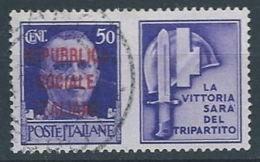 1944 RSI USATO PROPAGANDA DI GUERRA 50 CENT - RR13120-7 - 4. 1944-45 Repubblica Sociale