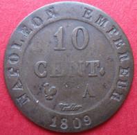 Inédit, Premier Empire 10 Centimes 1809 A , A Inachevé - France