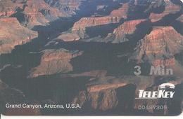 CARTE-PREPAYEE-USA-3Mn-TELEKEY-GRAND CANYON-Plastic Epais-GRATTE- TBE-RARE - Altri