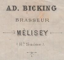 Facture 1884 / AD. BICKING / Brasseur / Bières / 70 Melisey - 1800 – 1899