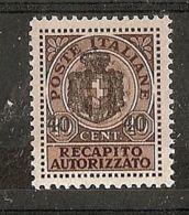1945 LUOGOTENENZA REC. AUTORIZZATO 40 C MH * - 7310-2 - 5. 1944-46 Lieutenance & Umberto II