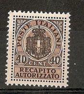 1945 LUOGOTENENZA REC. AUTORIZZATO 40 C MNH ** - 7310-2 - 5. 1944-46 Lieutenance & Umberto II