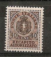 1945 LUOGOTENENZA REC. AUTORIZZATO 40 C MNH ** - 7310-6 - 5. 1944-46 Lieutenance & Umberto II