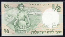 ISRAEL 1958.  1/2 SHEQALIM   JOVEN CON CESTO DE FRUTAS  NUEVO SIN CIRCULAR  B1183 .VER FOTO - Israel