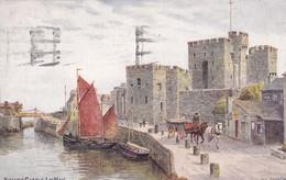 Postcard Rushen Castle Isle Of Man IOM Artwork By A R Quinton [ Salmon ] PU At Douglas 1939 My Ref  B12489 - Isle Of Man