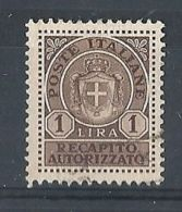 1946 LUOGOTENENZA USATO REC. AUTORIZZATO 1 £ - 8373-2 - 5. 1944-46 Lieutenance & Umberto II