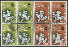 1961 BELGIO USATO EUROPA QUARTINA - 1961