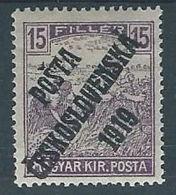 1919 CECOSLOVACCHIA SOPRASTAMPATO 15 F UNGHERIA MIETITORI MH * - CZ026 - Cecoslovacchia