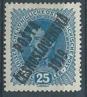 1919 CECOSLOVACCHIA SOPRASTAMPATO 15 H AUSTRIA IMPERATORE CARLO I MH * - CZ027 - Cecoslovacchia