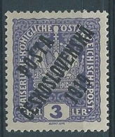 1919 CECOSLOVACCHIA SOPRASTAMPATO 3 H AUSTRIA N.143 MH * - CZ030 - Cecoslovacchia