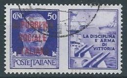 1944 RSI USATO PROPAGANDA DI GUERRA 50 CENT - RR13121 - 4. 1944-45 Repubblica Sociale