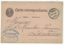 Suisse // Schweiz // Switzerland //  Entiers Postaux  //  Entier Postal Au Départ De Zurich Le 14.11.1878 - Interi Postali