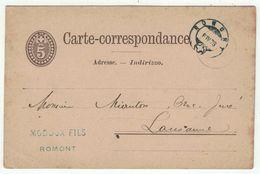 Suisse // Schweiz // Switzerland //  Entiers Postaux  //  Entier Postal Au Départ De Romont Le 06.04.1878 - Interi Postali