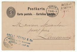 Suisse // Schweiz // Switzerland //  Entiers Postaux  //  Entier Postal Au Départ De Zurich Le 17.09.1880 - Entiers Postaux