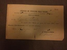 Ricevuta Lire 3 Consorzio Viticoltori Toscani Firenze 1908 - Italia