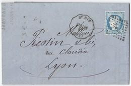 N°60C Sur Convoyeur Station De ST Dié Vers Lyon 1874 - Postmark Collection (Covers)