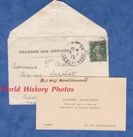 Enveloppe Ancienne Et Carte De Visite - André MAGINOT , Député De La Meuse - Chambre Des Députés - 1916 - Poststempel (Briefe)