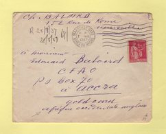 Type Paix - Destination Accra - Gold Coast - Marseille 7-8-1937 - 1921-1960: Modern Tijdperk
