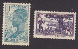 Ivory Coast, Scott #117, 132, Mint Hinged, Scenes Of Ivory Coast, Issued 1936 - Ivory Coast (1892-1944)